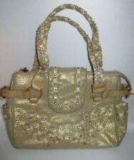 Charm And Luck Metallic Beige Leather Suede Rhinestone Handbag Purse Shiny CHIC