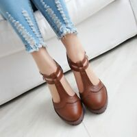 Women Retro Round Toe Shoes Tip Low Block Heel Oxfords Ankle Strap Pumps Size 8