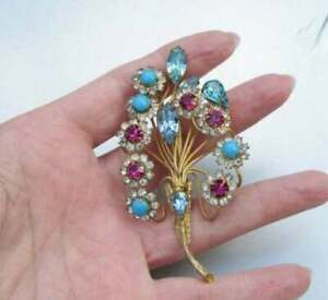 Vintage Floral Brooch Pin 6.22Ct Multi-Gemstone & Diamonds 14K Yellow Gold Over