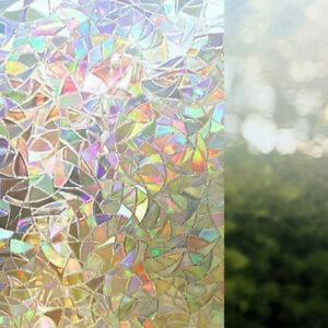 3D Rainbow Effect Privacy Window Glass Film Static Sticker Vinyl Frosted Cover T