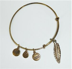 Alex and Ani Charm Bangle Bracelet Gold Tone Feather Charm
