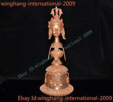 Tibet crystal Bronze 24k gold inlay turquoise gem tara head Exorcism Bell chung