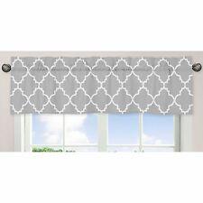 "Pre-Owned Sweet Jojo Designs Gray & White Trellis Window Valance Curtain 54""X15"""