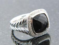 DAVID YURMAN 11 MM ALBION RING BLACK ONYX DIAMONDS STERLING SILVER SZ 6 1/2