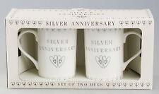 SILVER WEDDING ANNIVERSARY MUGS SET Pair of China Mugs By Leonardo NEW