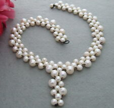 "18""  White Pearl Handmade Big Hole Pearl Necklace"