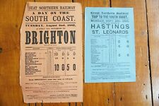 More details for 1887 1895 brighton & hastings great northern railway handbill timetable x2 gnr