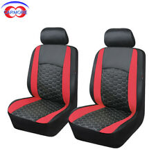 6PC FronT Seat Covers Red Faux Leather Polyester Universal fit Car Truck Suv Van