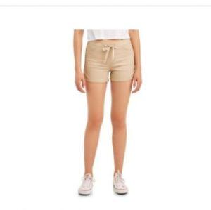 No Boundaries Juniors Ribbed Tie Waist Dorm Shorts Size XXL (19) Earth Khaki NEW