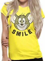 Official Tom & Jerry Smile T Shirt Ladies Skinny Funny Cartoon NEW S L XL