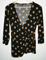 Joanna Hope Fashion Women's Wrap Dot Black Office Long Sleeve Blouse Top Size 12