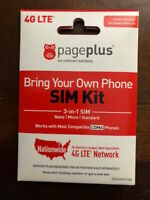 * PAGE PLUS 4G LTE 3N1 SIM CARD UNLIMITED VERIZON WIRELESS MUST ACTIVATE ON PP