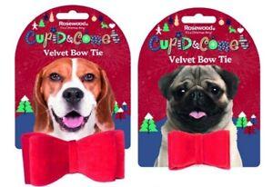 Christmas Festive Xmas Dog Velvet Red Bow Tie Novelty Dress Up Dickie Bow Tie