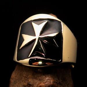 Nicely crafted Men's Templar Knight Ring Black Maltese Cross - Solid Brass