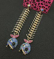 Women's Blue Crystal Long Fish Bone Betsey Johnson Stud Earrings