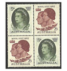 "Australia ""1963 Royal Visit"" Queen Elizabeth II Block of 4 Stamps ex Booklet MUH"