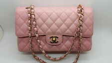 ***Chanel Pink Quilted Caviar Medium Classic Double Flap Bag