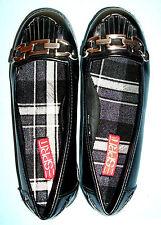 NWT Esprit Black Pleather Cool Loafer Shose w/Pewter Chain Trim/Toe Fringe-6.5M