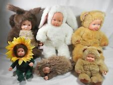Lot 6 Plush Anne Geddes Dolls Bunny Bear Squirrel Sunflower Porcupine - 2 Sizes