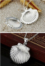 """20"""" Hot 925 Silver Shell Locket Phone Frame Pendant Water Wave Necklace Chain"""