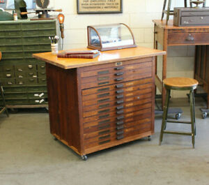 Antique Industrial Hamilton Flat File Map Drawer Oak Wood Table Cabinet 1920s