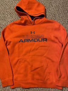 Under Armour Boys Girls Youth XL YXL Orange Hoodie Sweatshirt