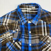 Lee Button Up Shirt Mens XXL Brown Blue Plaid Long Sleeve Casual