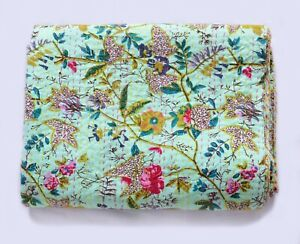 Indian Paradise Print Kantha Handmade Quilt Twin Cotton Bedspread Blanket Throw