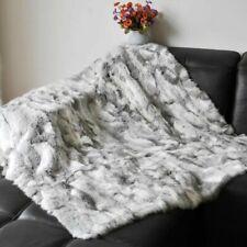 Luxury Rabbit Fur Throw 100% Real Rex Fur Bedspread / Blanket King Multifunction