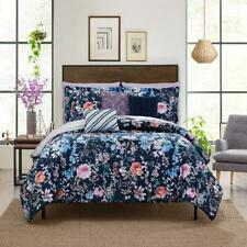 Navy Floral 10-Piece Bed in a Bag Bedding Set w/ Sheet Set Pillows Queen Size Us