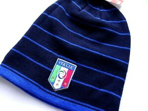 Genuine PUMA Navy Long ITALIA Football Skull BEANIE Toque Hat Calcio FIGC Italy