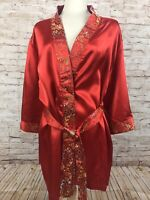 Delta Burke Sleepwear Satin Red Floral Pattern Lounge Short Robe Kimono 2X