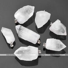 1x Freeform Natural Rock Crystal Quartz Healing Chakra Bead Pendant For Necklace