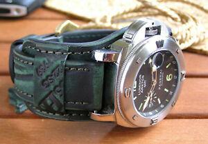 Green Watch Bund Strap Genuine Leather 22mm Military Band Handmade Brass buckle