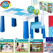 5in1 Multifun Table & Chair Set for Children Kids Activity Play, Lego Water BLUE