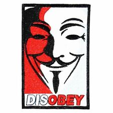 V for Vendetta DISOBEY (Iron on) Embroidery Applique Patch Sew Iron Badge