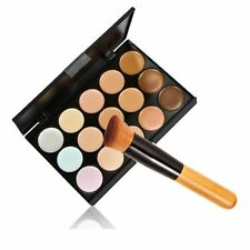 15 Colors Contour Face Cream Makeup Concealer Palette + Powder Brush