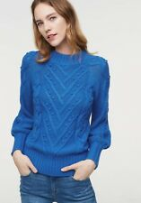 NWT ANN TAYLOR LOFT Bright Blue Cotton Blend Stitchy Cable Sweater Size XL