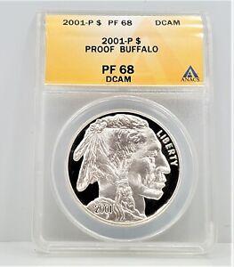 2001 P Buffalo Commemorative Silver Dollar S$1 ANACS PR 68 Deep Cameo C73