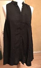 RIVER ISLAND, SIZE 10, EUR 36, BLACK SLEEVELESS SWING TOP, PRE-LOVED