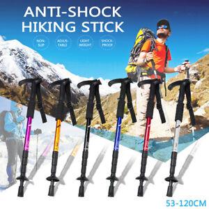 Foldable Hiking Walking Stick Trekking Pole Alpenstock Anti-shock Anti-skid