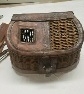 Vintage George Lawrence wicker and leather Creel