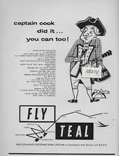TEAL AIR NEW ZEALAND 1957 CAPTAIN COOK DID IT YOU CAN TOO DISCOVER PACIFIC AD