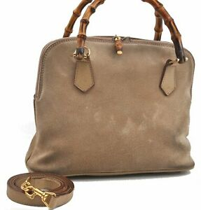 Authentic GUCCI Bamboo 2way Hand Shoulder Bag Suede Leather Beige A7396