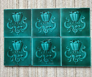 6 Turquoise Art Nouveau Victorian One Colour Embossed Ceramic Tiles 6 in x 6 in
