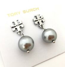 Tory Burch Logo Circle Studs Earrings Pearl Silver Plated NEW WITH TAG Dust Bag