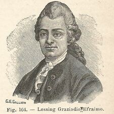 B1939 Gotthold Ephraim Lessing - Incisione antica del 1928 - Engraving