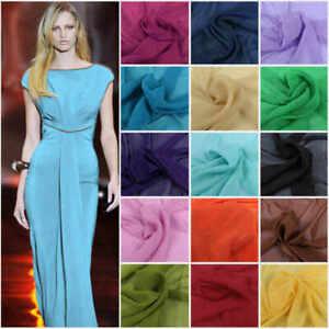 "Chiffon Sheer Fabric Plain Soft Polyester Wedding Arch Dress Craft Material 44"""