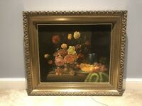 Large Antique 19th Century Still Floral & Fruits Oil painting