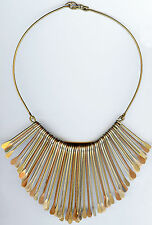 DRAMATIC 1970'S VINTAGE SILVER TONE COPPER & BRASS HANGING DROP PENDANT NECKLACE